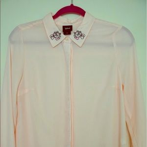 Disney Marie button-down blouse in soft pink